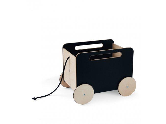 Dřevěný vozík na hračky ooh noo černý