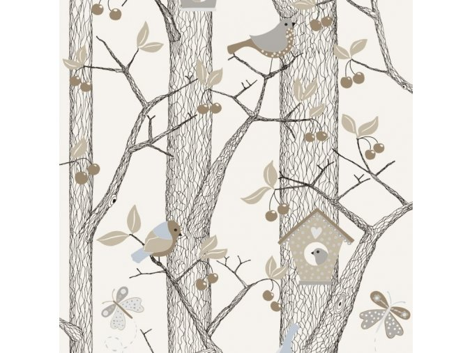 Tapeta Trees and Birds BorasTapeter hnědá