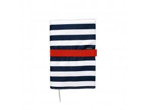 Cestovní deník Papelote modrý pruh s červenou gumičkou