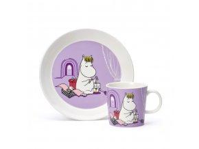 Sada hrníček a talíř v dárkové krabici Moomin Snorkmaiden Arabia fialová