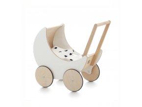 Dřevěný kočárek pro panenky ooh noo bílý