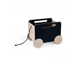 Dřevěný vozík na hračky černý Ooh noo