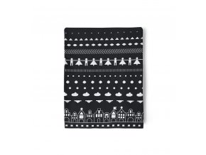 Bavlněná deka LITTLE VILLAGE ooh noo 90x125cm černobílá