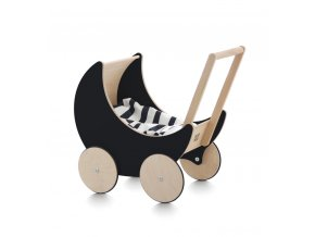 Dřevěný kočárek pro panenky černý Ooh noo