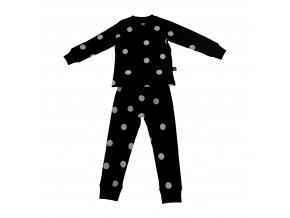 Pyžamo černé s bílými tečkami ooh noo vel. 104-110