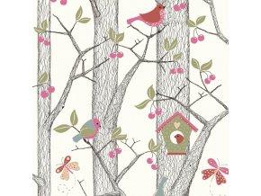 Tapeta Trees nad Birds BorasTapeter červená
