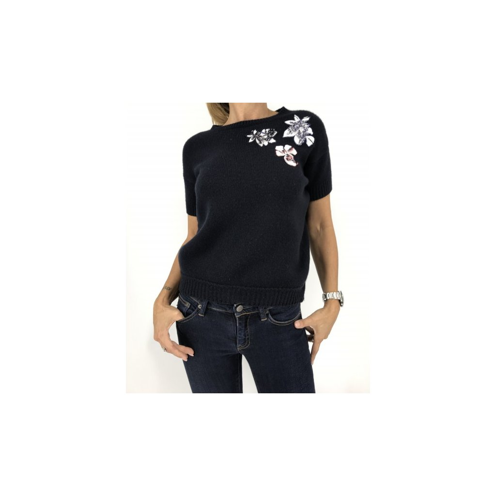 CHRISTIAN DIOR Dark Blue Sweater with Handmade Flowers