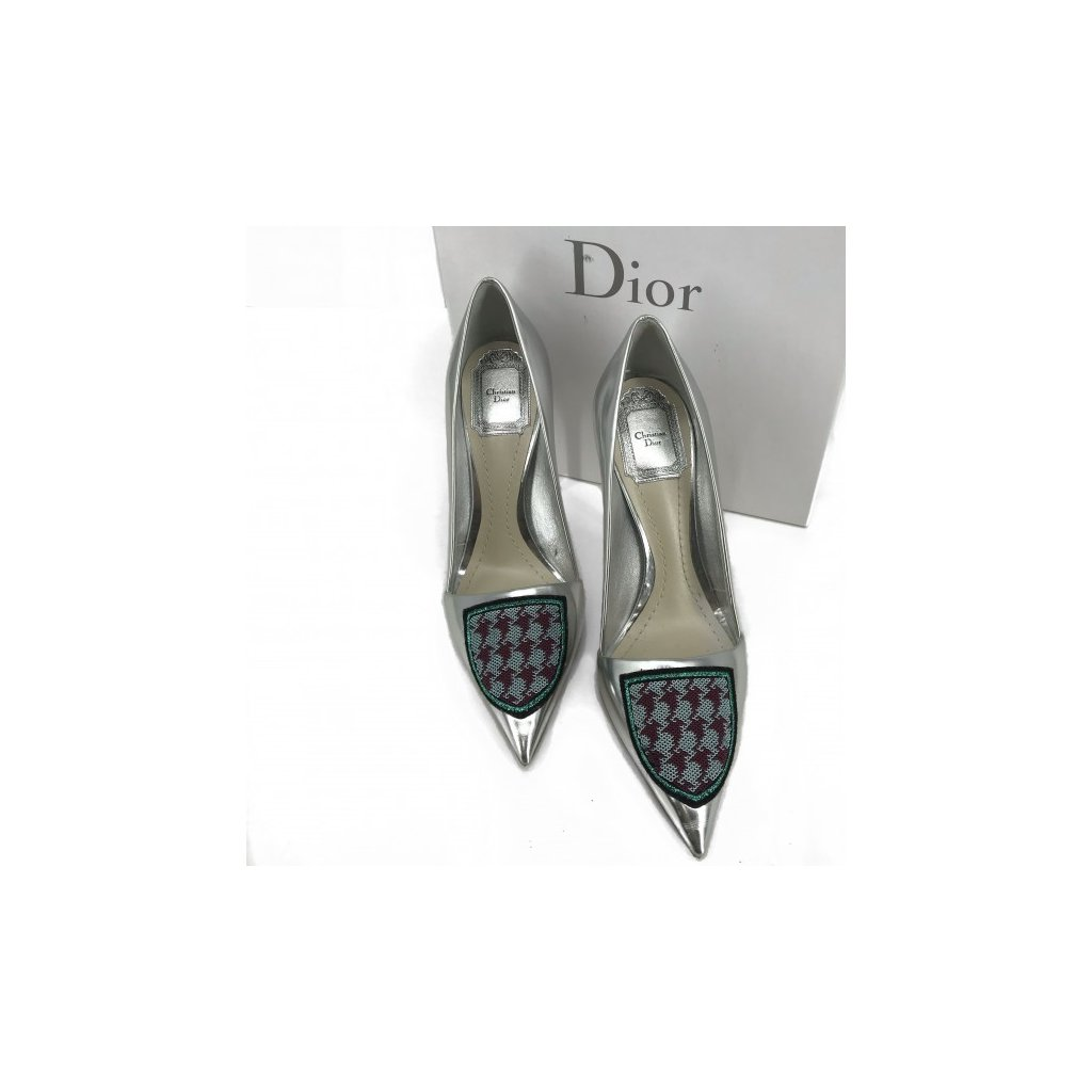 CHRISTIAN DIOR Silver Leather High Heels NEW 37