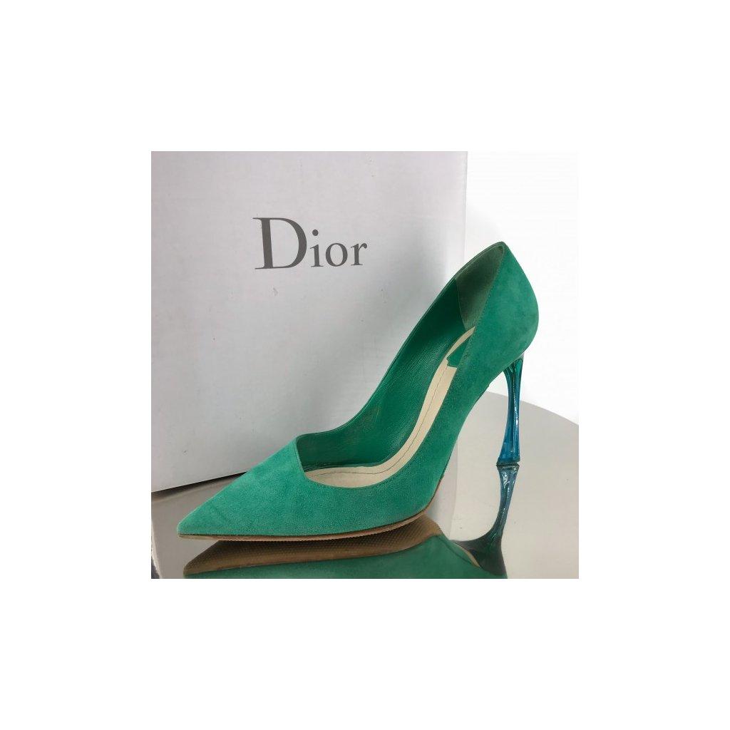 Christian Dior green suede heels