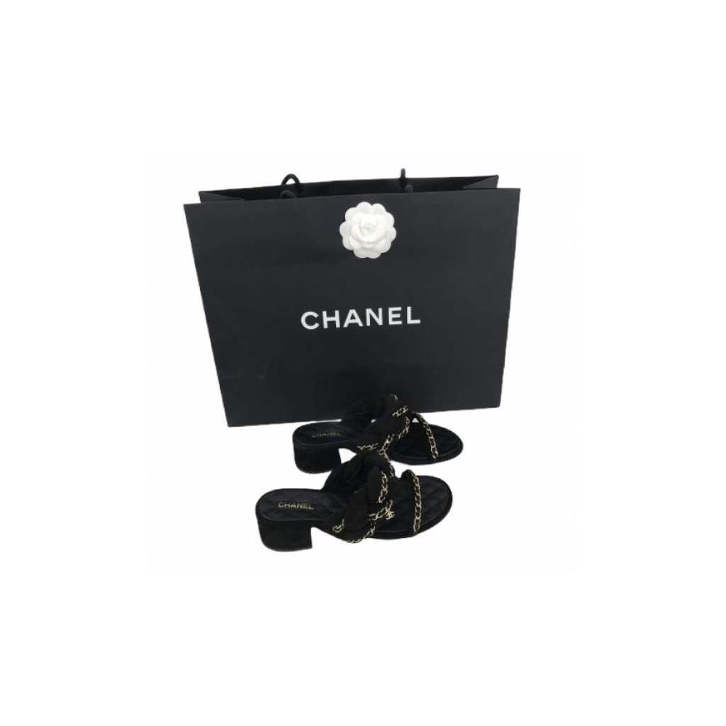 CHANEL Black Slippers