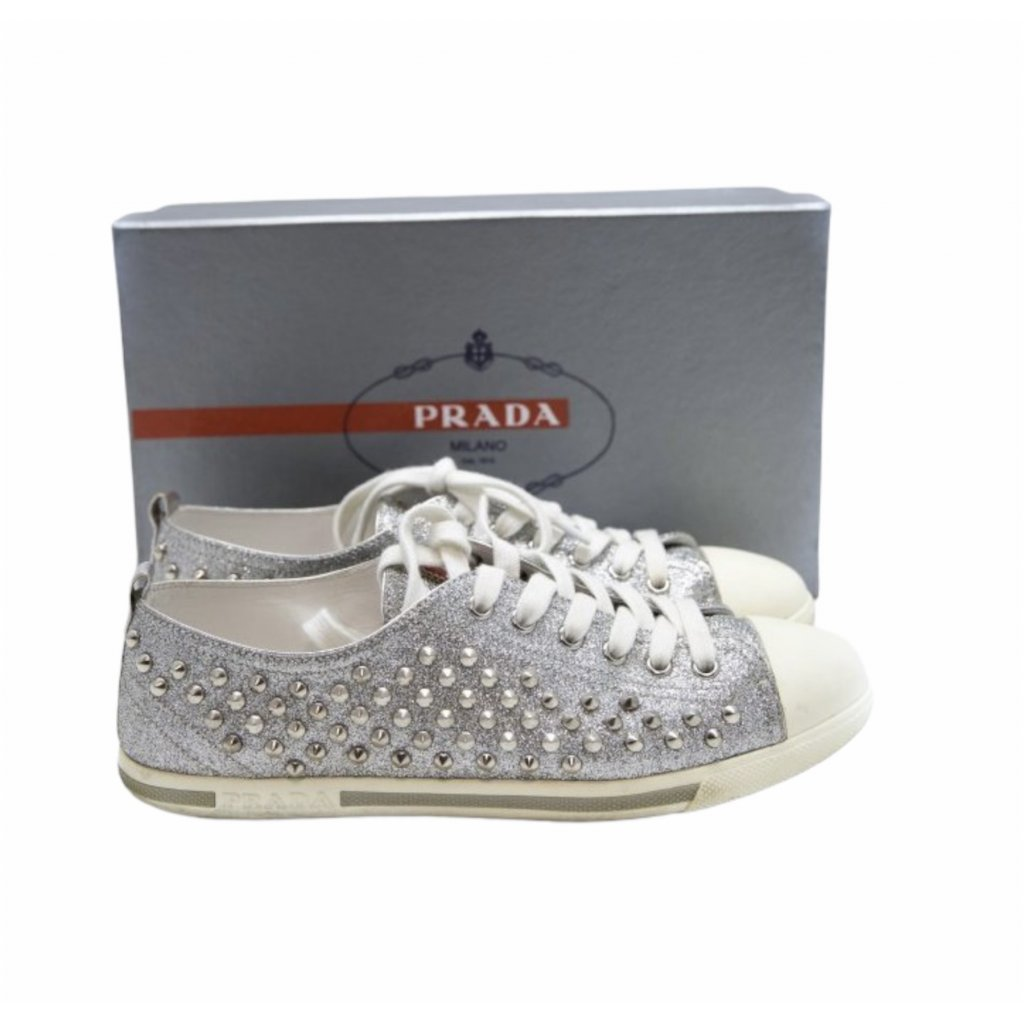 PRADA Silver Glitter Sneakers 39