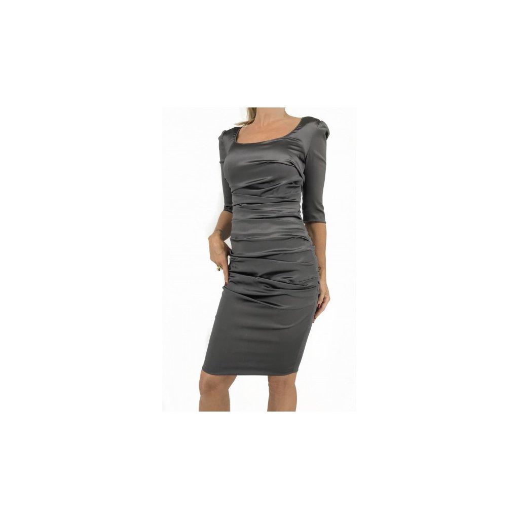 DOLCE & GABBANA Shiny Grey Silk Dress NEW