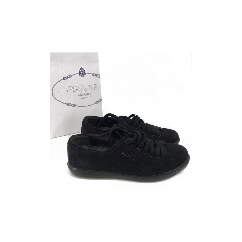 PRADA Black Suede Sneakers