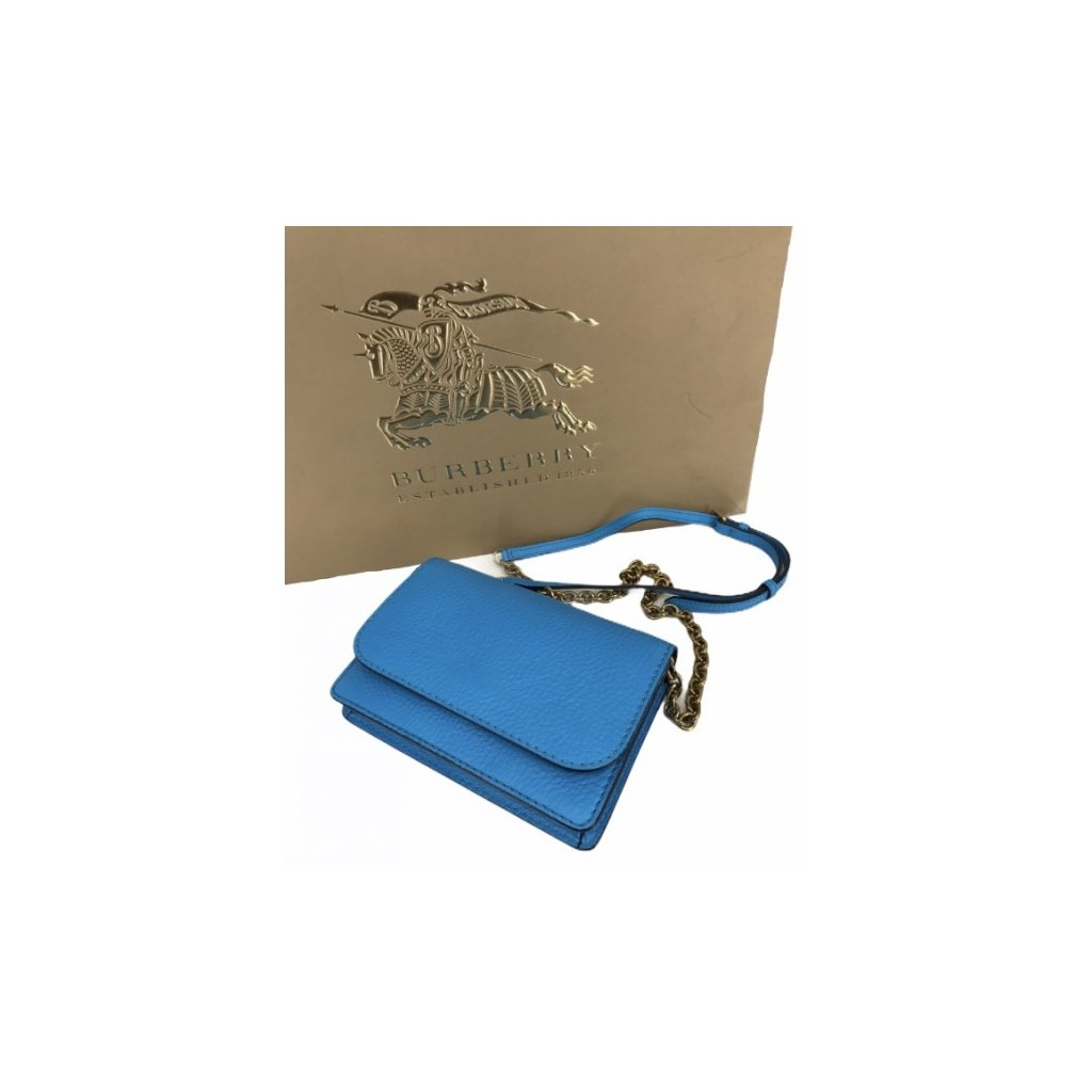 BURBERRY Embossed Leather Crossbody Bag / Wallet with Detachable Strap in Bright Blue