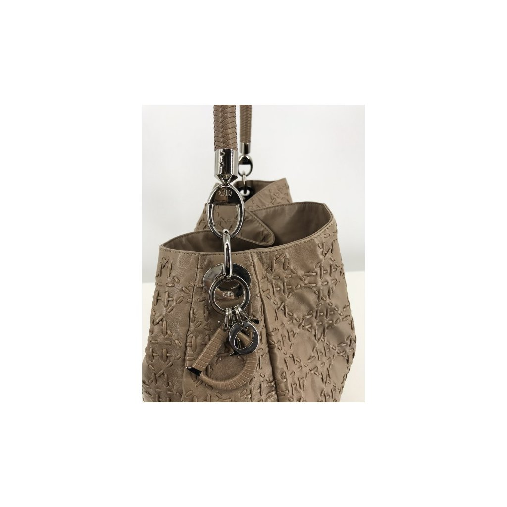 CHRISTIAN DIOR Cannage Stitched Tan Leather Shoulder Hobo Bag
