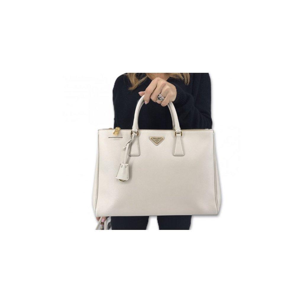 PRADA White Saffiano Leather Galleria Tote Bag