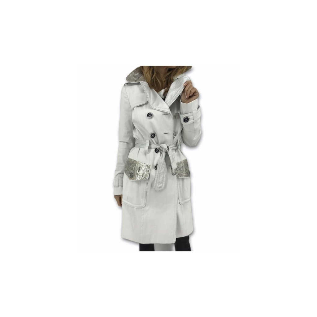 STIFF White Trenchcoat with Real Python-Skin Pockets and Collar NEW