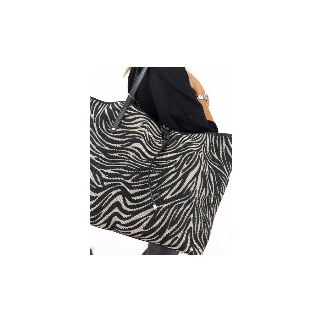 JIMMY CHOO Sasha Zebra Print Raffia Large Tote Bag NEW