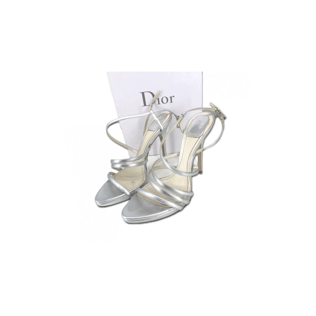 CHRISTIAN DIOR Silver Heel Sandals