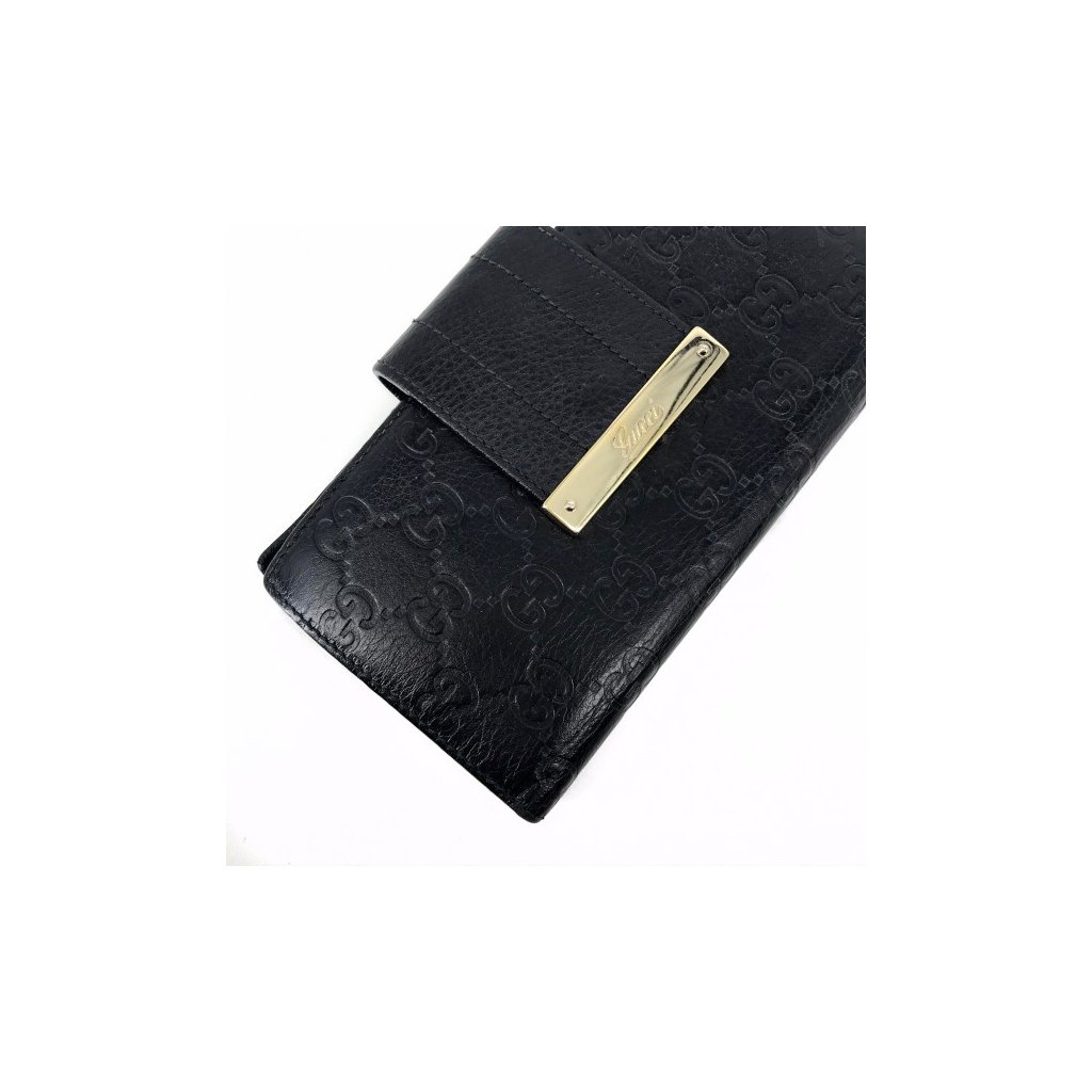 GUCCI GG Embossed Logo Black Leather Wallet