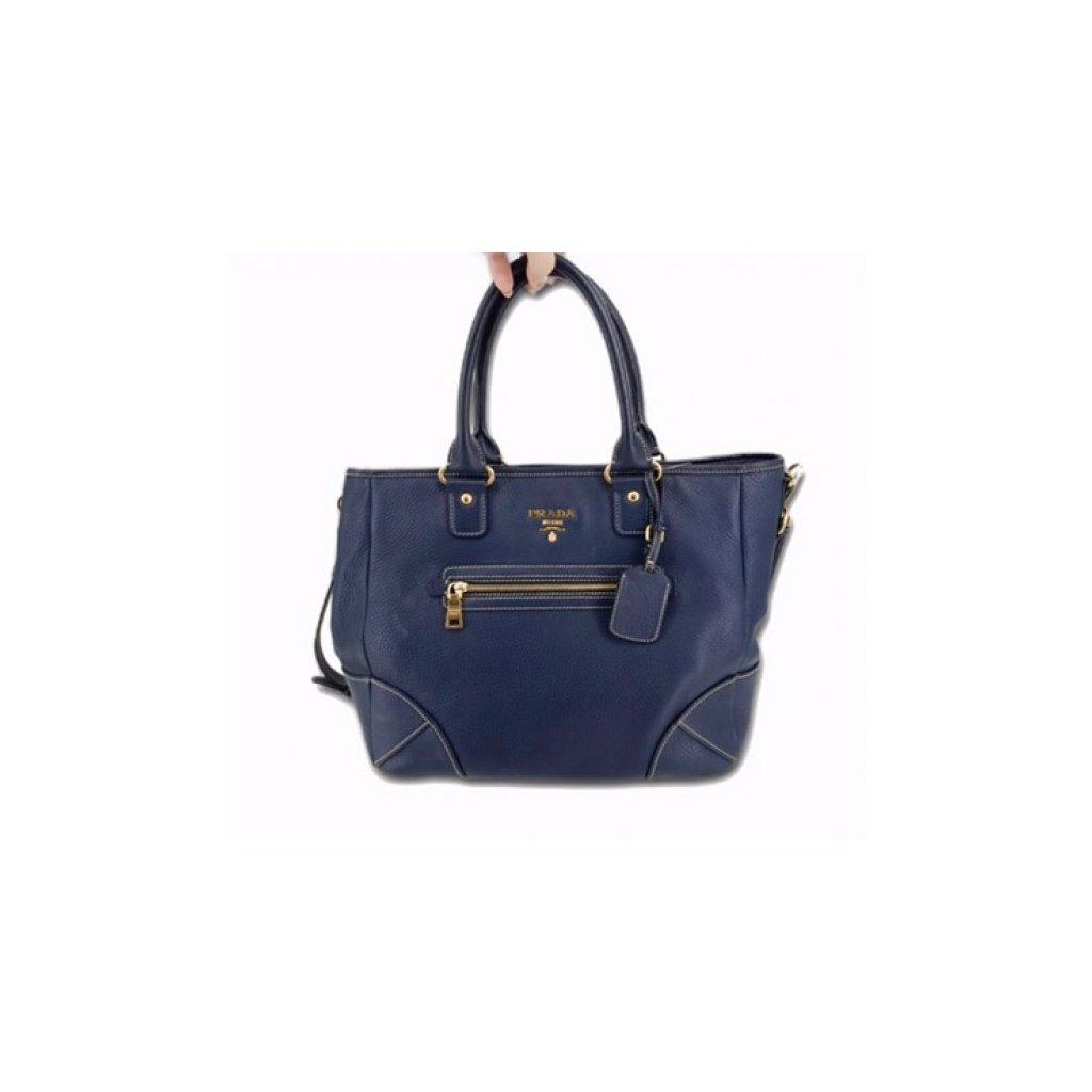 PRADA Dark Blue Leather Shoulder Bag with Strap