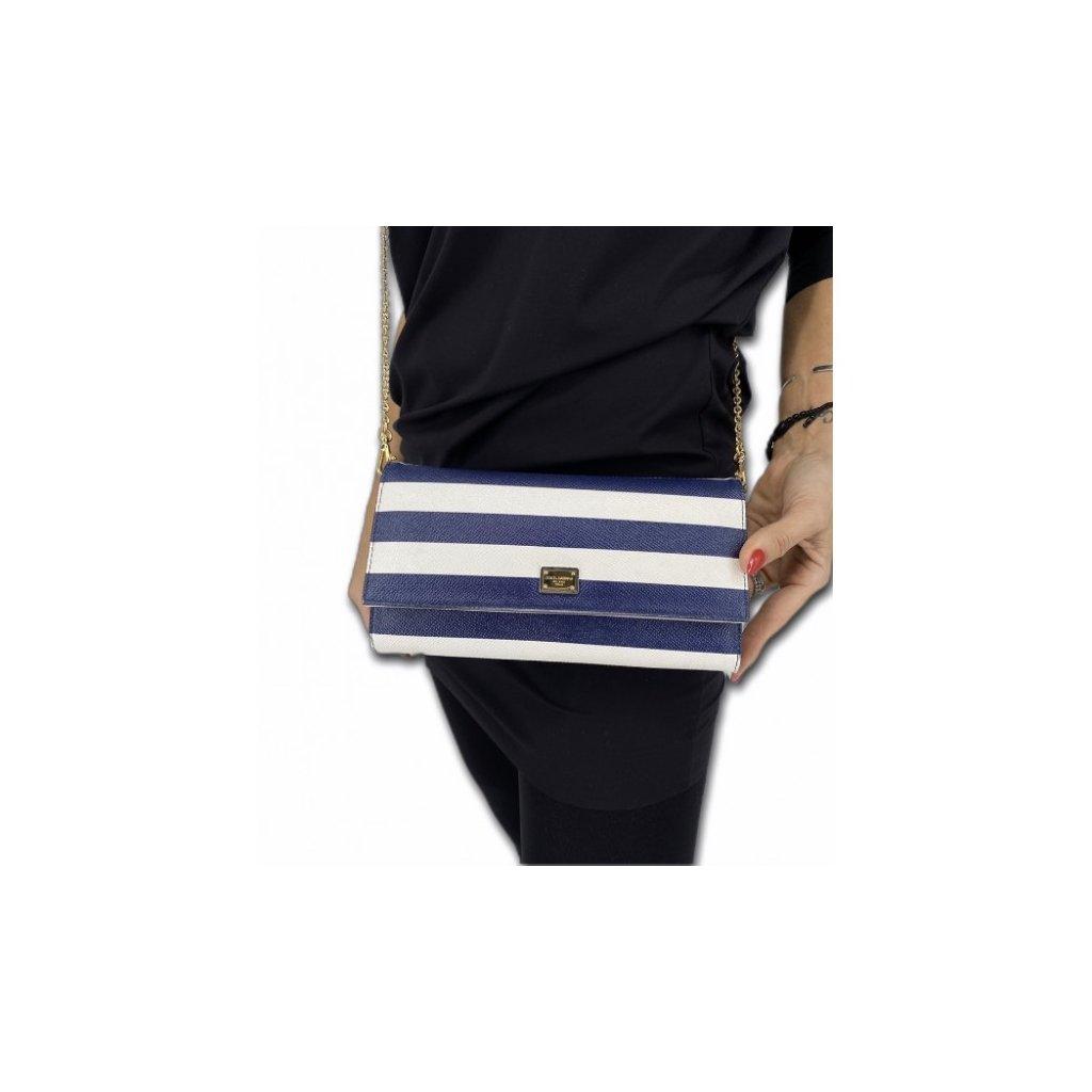 DOLCE & GABBANA Navy Striped Leather Crossbody Clutch