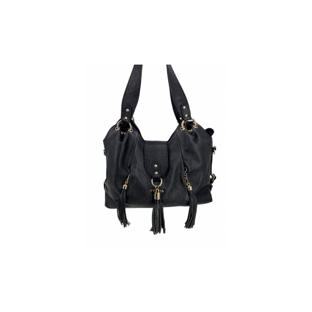 PRADA Black Leather Shoulder Bag with Strap