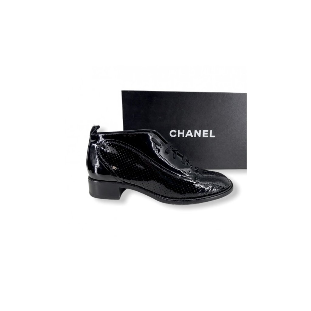 CHANEL Black Patent Shoes