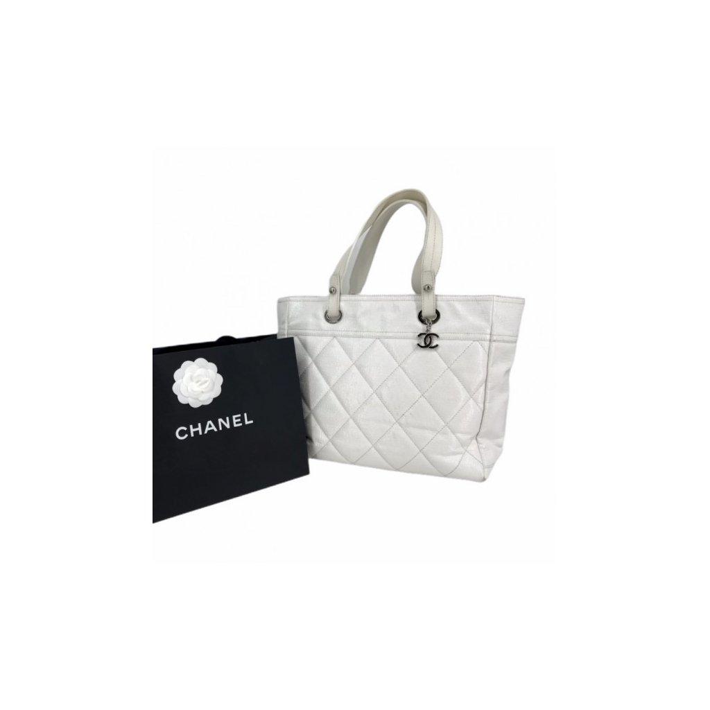 CHANEL White Leather Tote Shoulder Bag