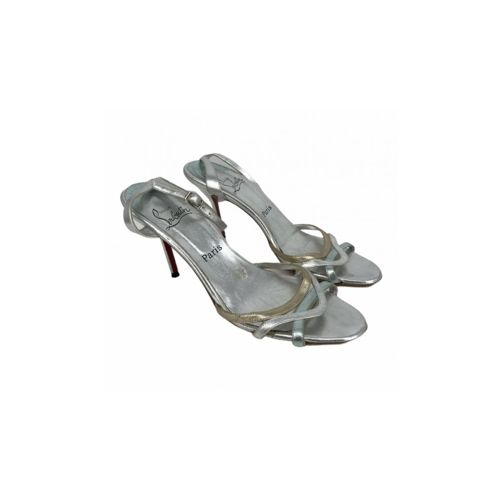 CHRISTIAN LOUBOUTIN Silver Sandals on Heels 41,5