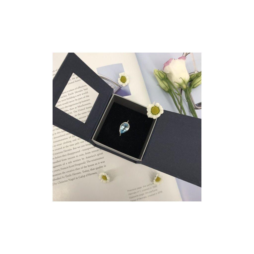 HALADA White Gold & Topaz & Brilliant Ring