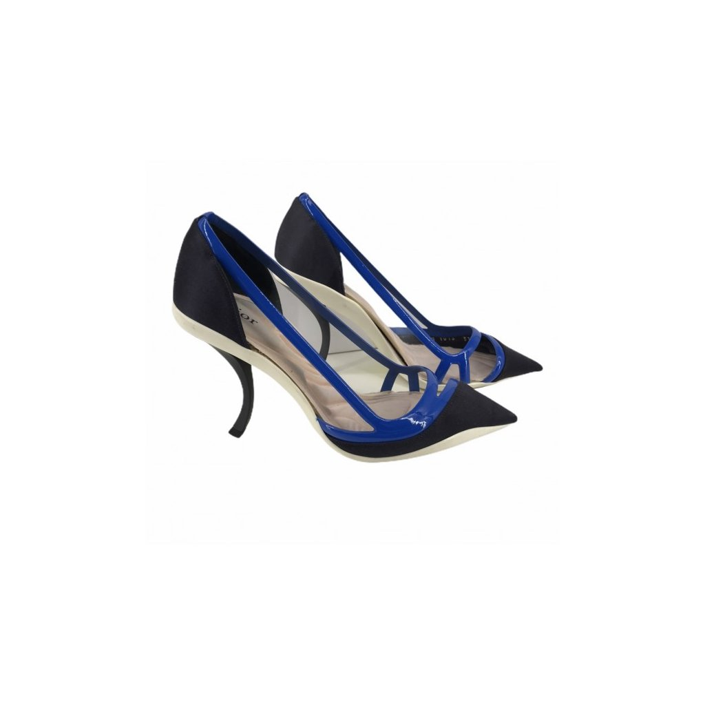 CHRISTIAN DIOR Pointed Curved Pump in Blue Marine Satin 37,5