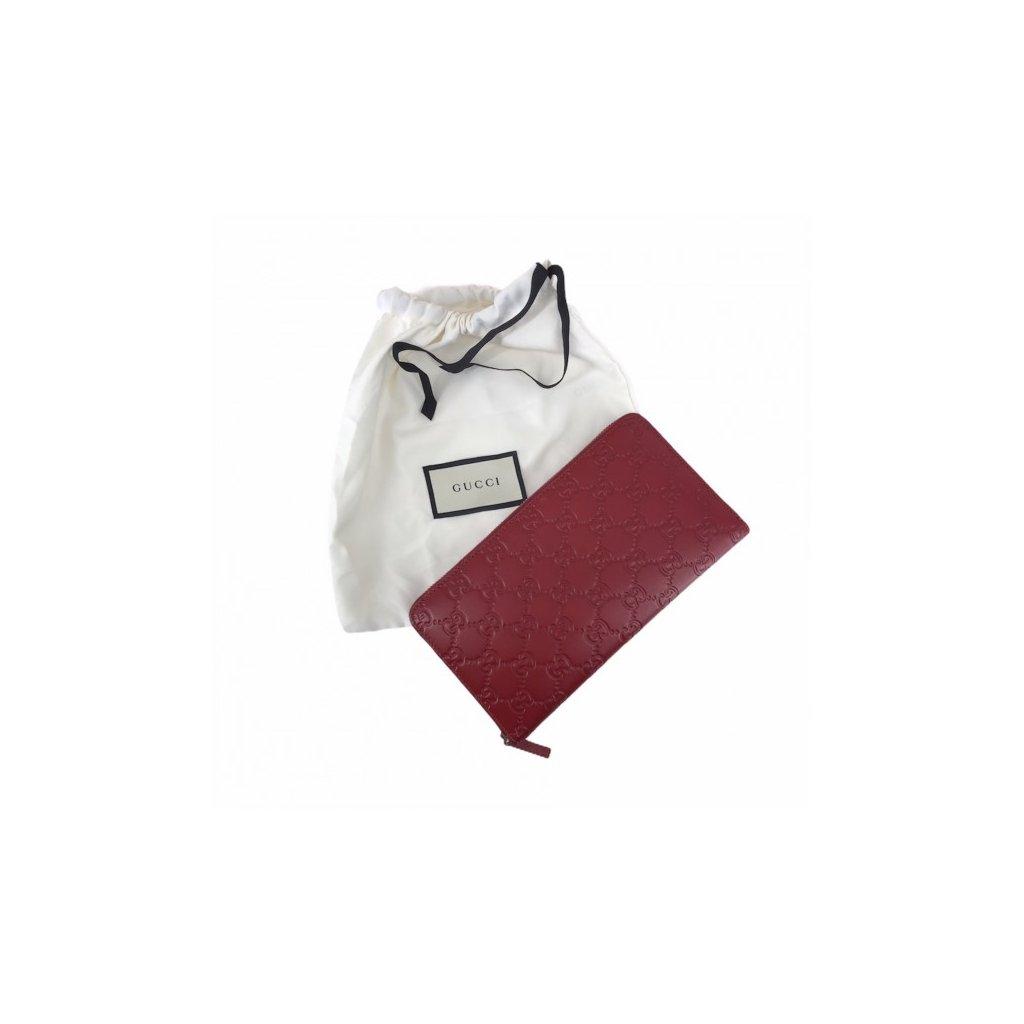 GUCCI Guccissima Zip Around Wallet Red