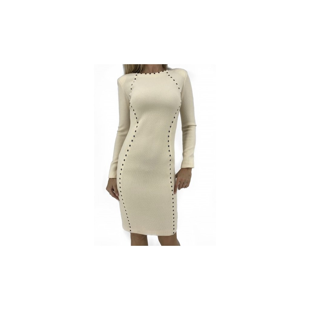 TATIANA Beige Long Sleeve Dress