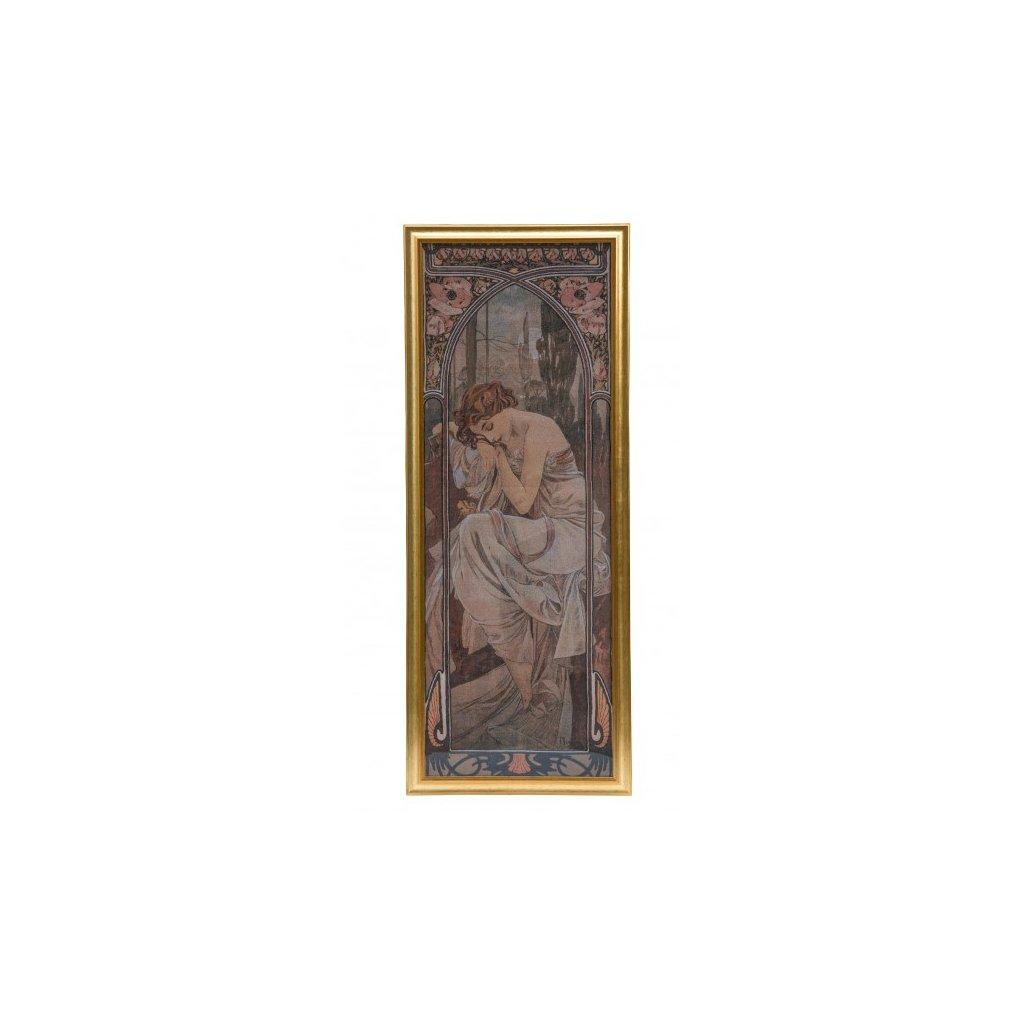 """Denní doby Alfonse Muchy """"Odpočinek v noci"""" tapisérie ve zlaceném rámu"""