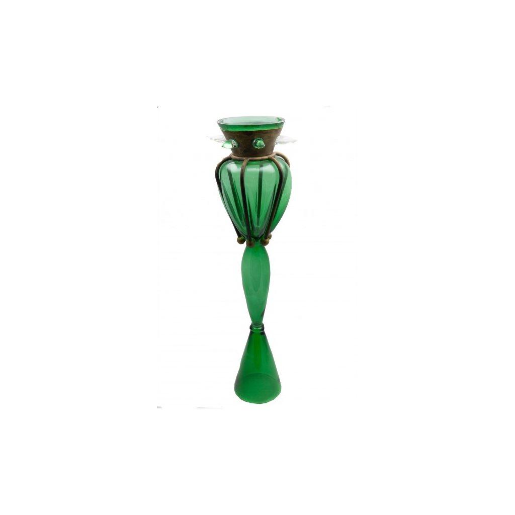Leonora skleněná váza zelená signována Bořkem Šípkem