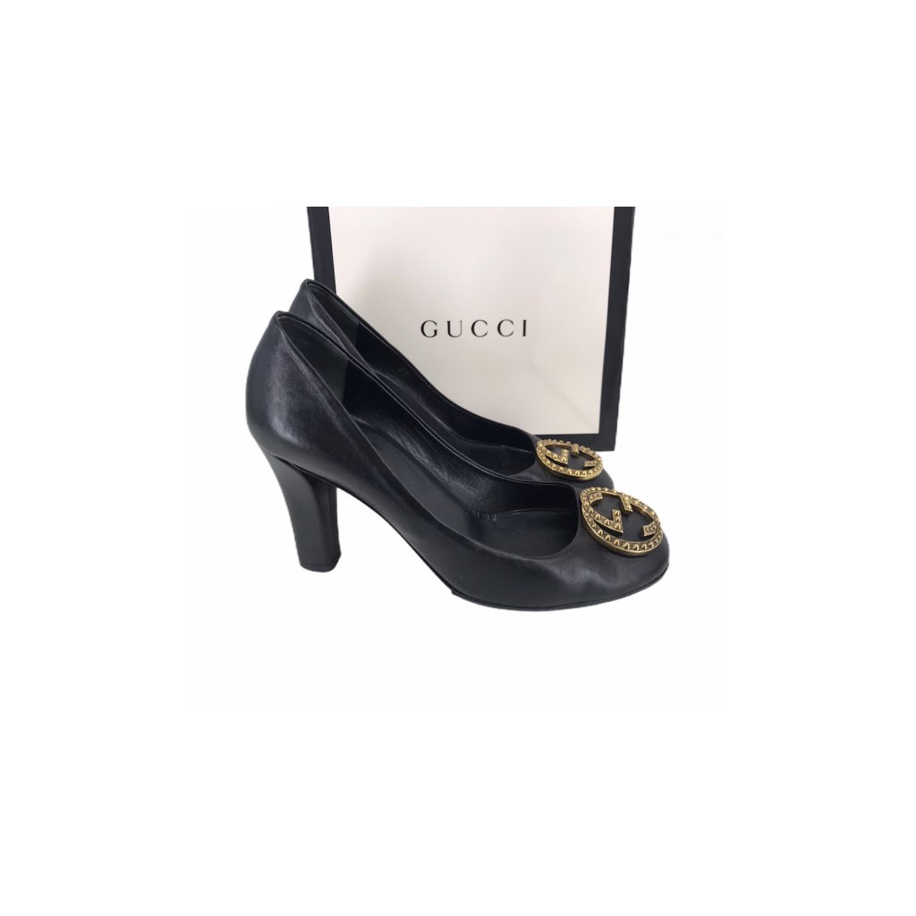 GUCCI GG Black Heel 37