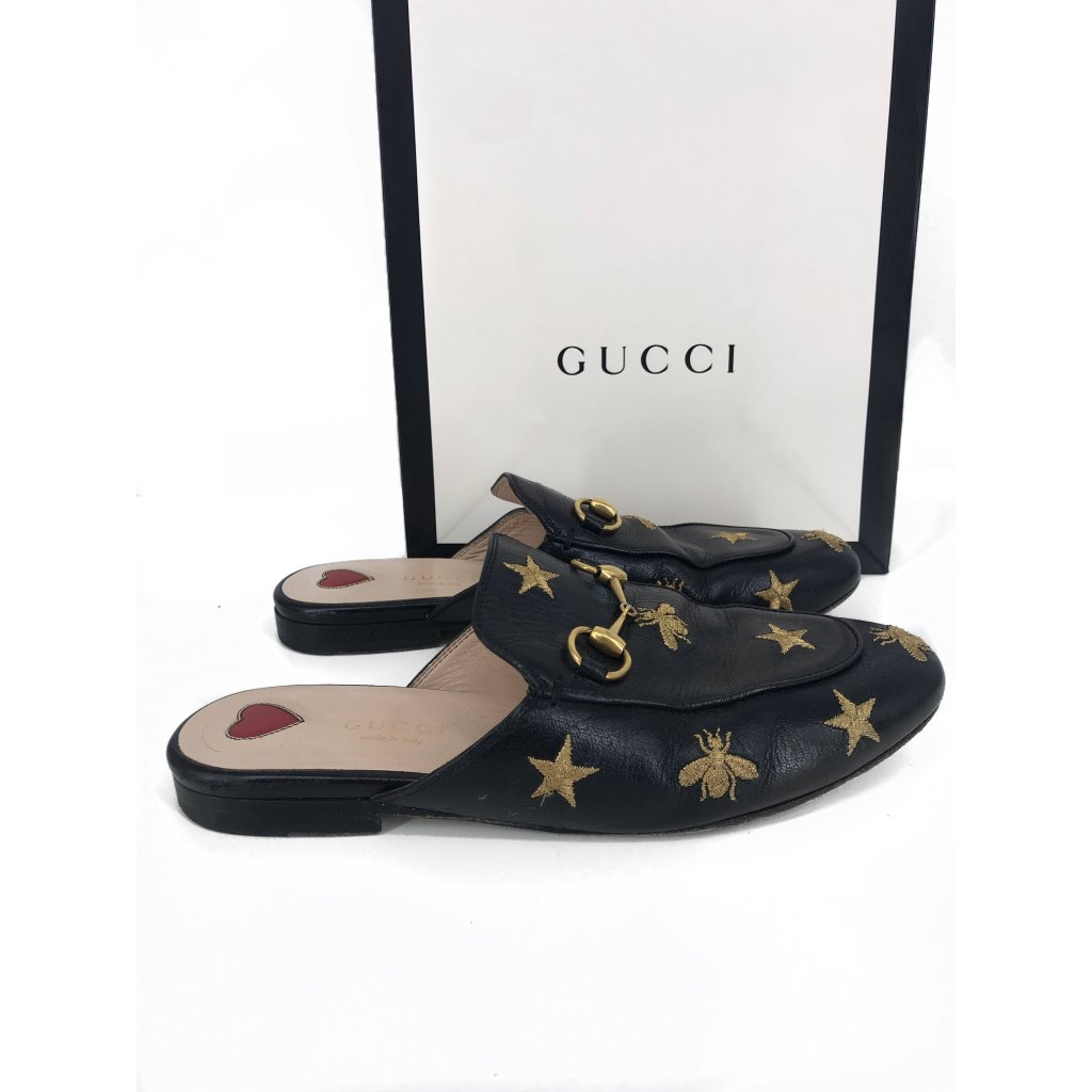 GUCCI Gold & Black Slippers 36,5