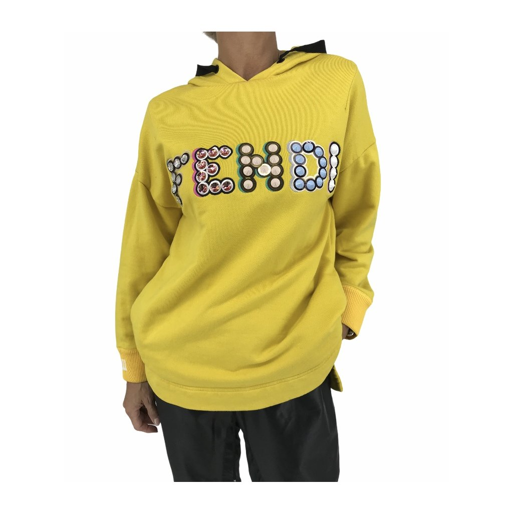 FENDI Yellow Studded With Colorful Print Sweater