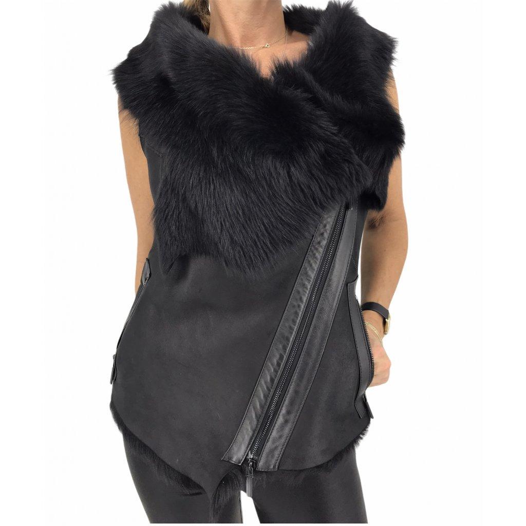 Black Leather Vest With Fur