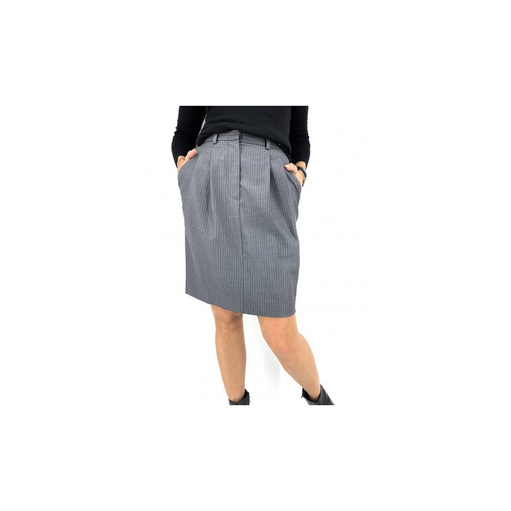 CHRISTIAN DIOR Grey Wool Skirt