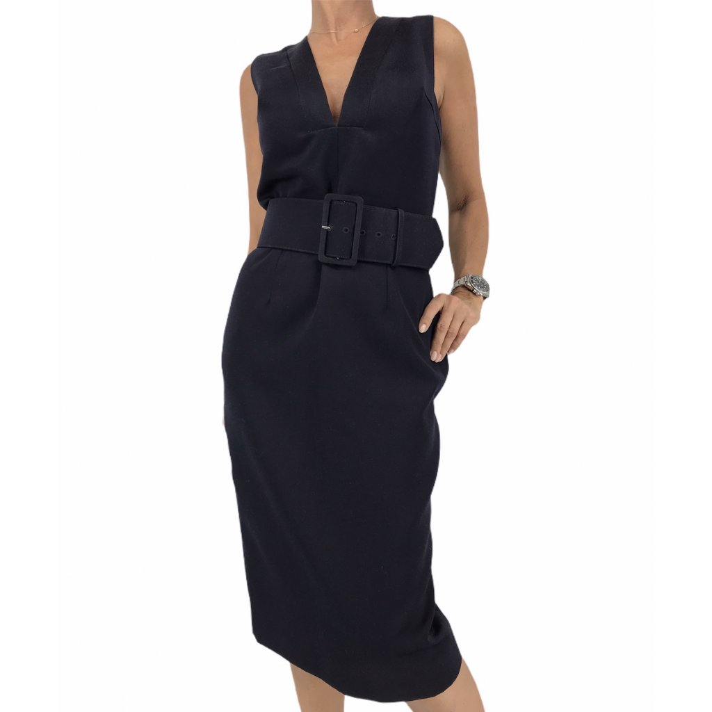 CHRISTIAN DIOR Dark Blue Dress With Belt