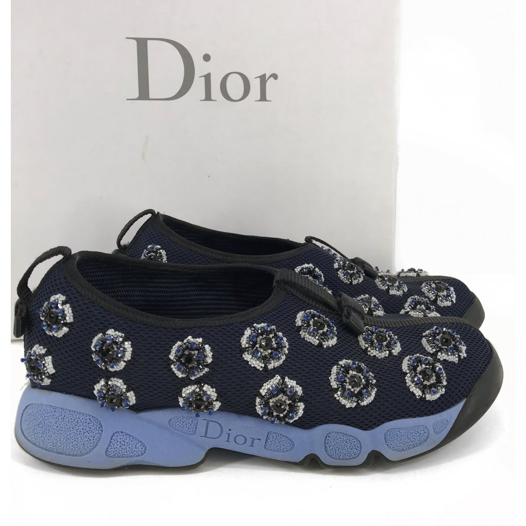 CHRISTIAN DIOR Fusion Sneakers By Raf Simmons in Dark Blue Canvas 37