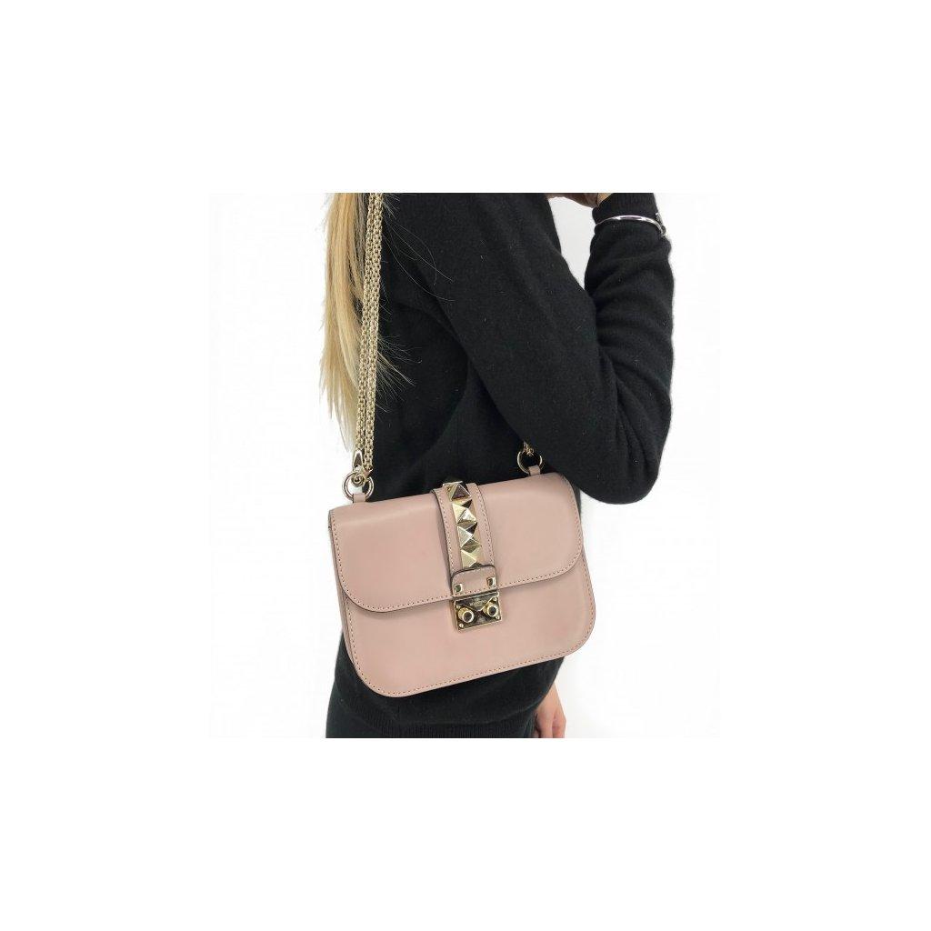 Valentino Rockstud Lock Crossbody Bag Small Poudre