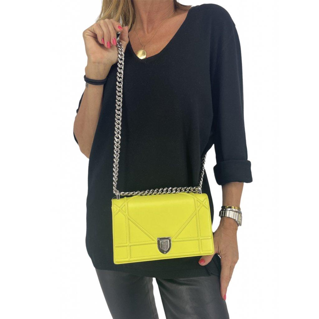 CHRISTIAN DIOR Diorama Flap Bag Small in Yellow