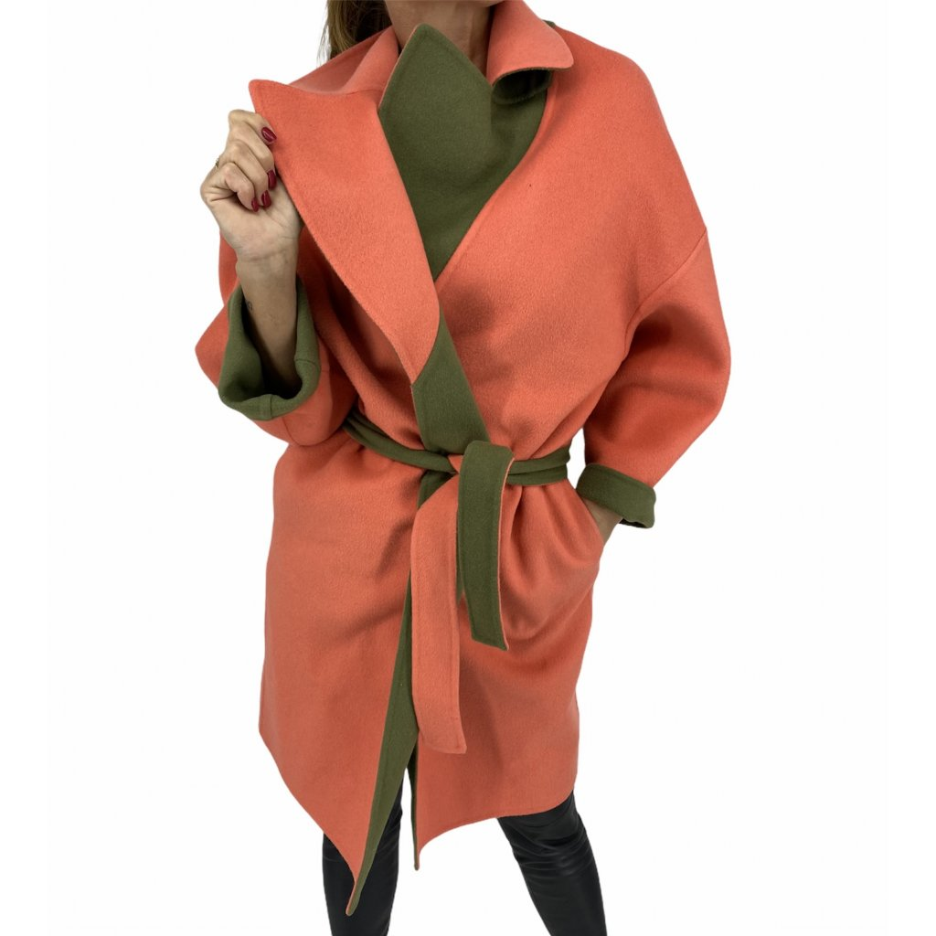 FENDI Fleece Wool Orange And Green Reversible Coat