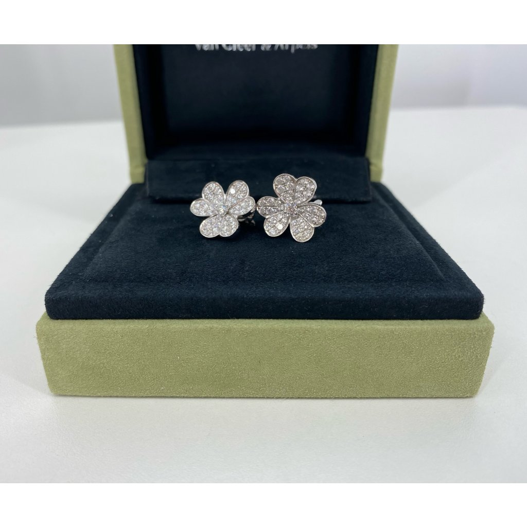 VAN CLEEF & ARPELS White Gold And Diamond Earrings