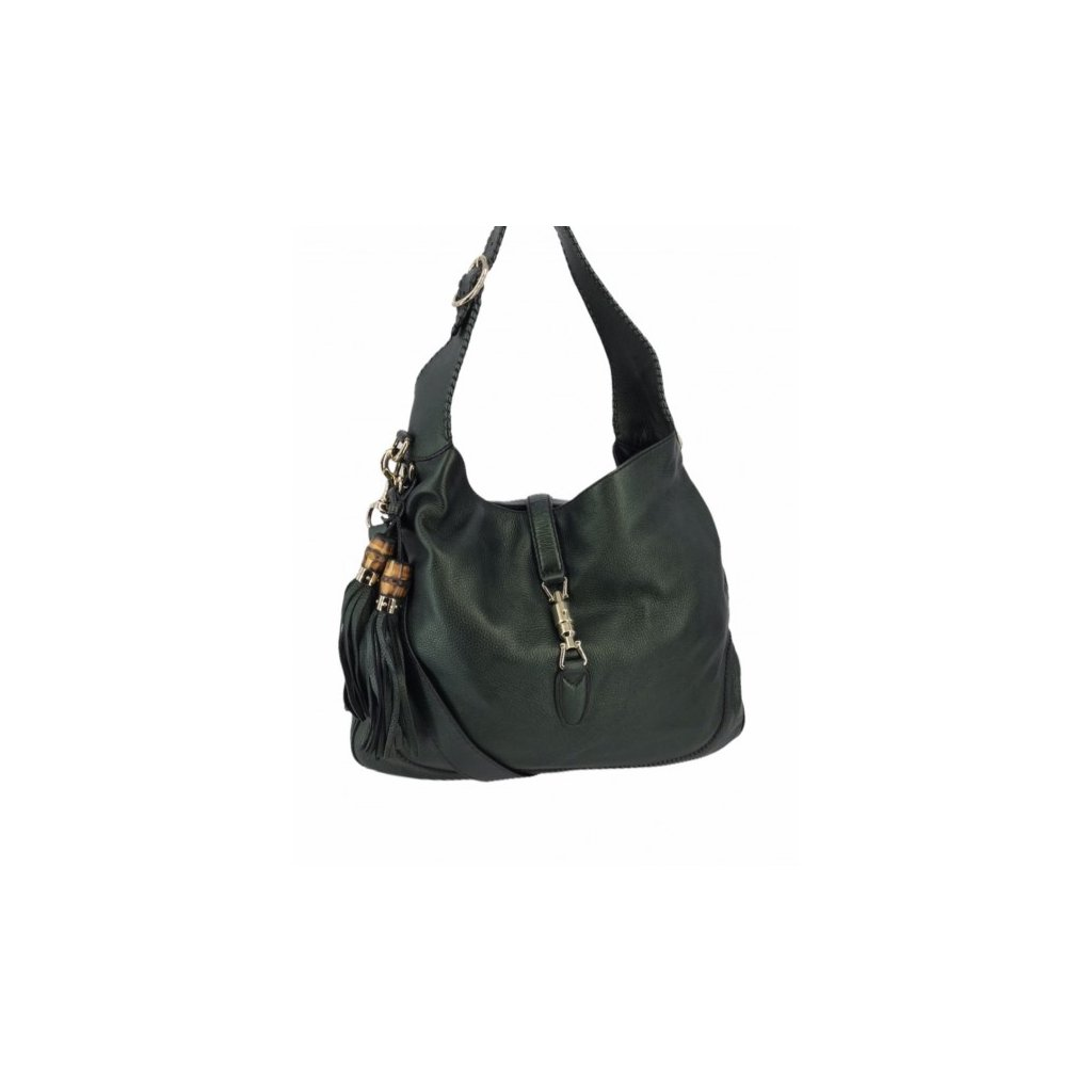 GUCCI Metallic Pebbled Calfskin Medium New Jackie Shoulder Bag Green