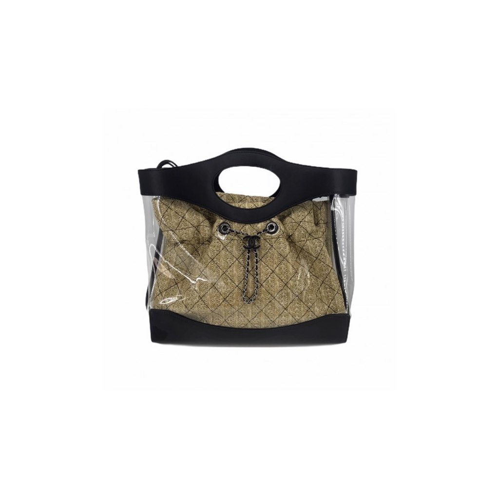 CHANEL 21 Shopping PVC & Leather & Straw Bag