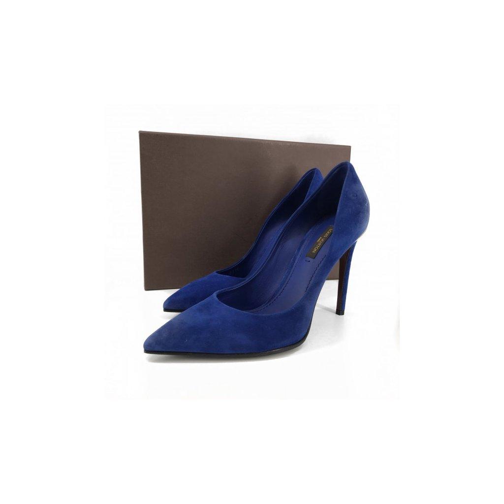 LOUIS VUITTON Blue Suede High Heels NEW